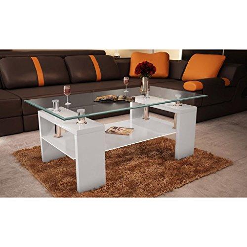 vidaXL Couchtisch Glastisch Beistelltisch Wohnzimmertisch Hochglanz Weiß