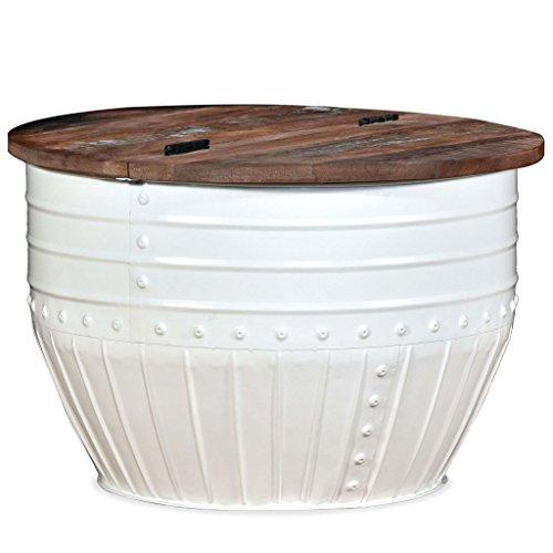 vidaXL Couchtisch Massives Altholz Weiß Trommelform Kaffeetisch Beistelltisch