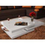 vidaXL Hochglanz Wohnzimmertisch Couchtisch Beistelltisch Tisch Weiß MDF Chrom