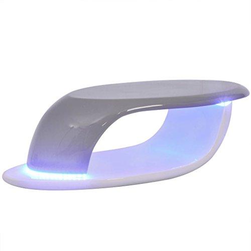 vidaXL LED Hochglanz Couchtisch Beistelltisch Kaffeetisch Fiberglas Weiß-Grau