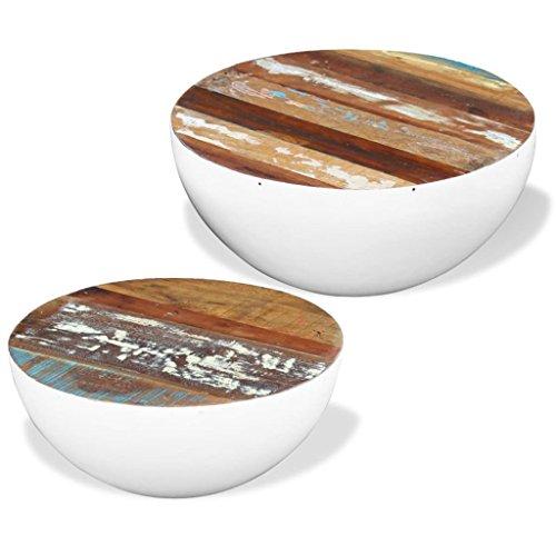 vidaXL Massivholz 2x Couchtisch Beistelltisch Kaffeetisch Wohnzimmertisch Antik