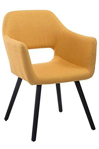 Besucherstuhl, Konferenzstuhl, Wartezimmerstuhl, Esszimmerstuhl, Küchenstuhl, Wohnzimmerstuhl, Wartestuhl, Messestuhl Stoff Holz schwarz/gelb #Auckland