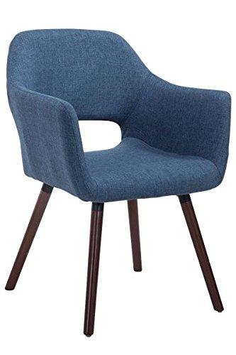 Besucherstuhl, Konferenzstuhl, Wartezimmerstuhl, Esszimmerstuhl, Küchenstuhl, Wohnzimmerstuhl, Wartestuhl, Messestuhl Stoff Holz walnuss/blau #Auckland