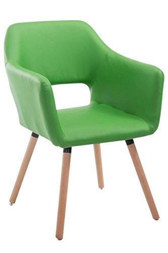 Besucherstuhl, Konferenzstuhl, Wartezimmerstuhl, Stuhl, Esszimmerstuhl, Küchenstuhl, Wohnzimmerstuhl, Messestuhl Kunstleder Holz natura/grün #Auckland