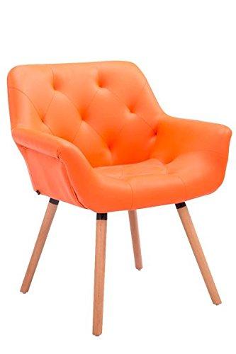 Besucherstuhl, Konferenzstuhl, Wartezimmerstuhl, Stuhl, Esszimmerstuhl, Küchenstuhl, Wohnzimmerstuhl, Wartestuhl, Messestuhl Materiealmix natura/orange #Cassidy