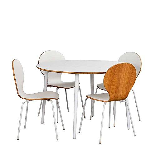 Pharao24 Esszimmergruppe mit Rundem Tisch Weiß