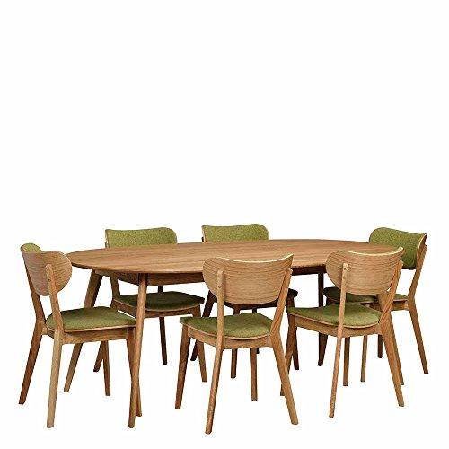 Pharao24 Essgruppe mit ovalem Tisch Grün Eiche massiv