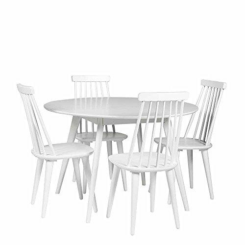 Pharao24 Esszimmergruppe in Weiß mit Rundem Tisch