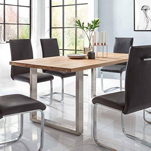 Pharao24 Design Essgruppe aus Eiche Massivholz Schwarz Kunstleder Breite 220 cm Tiefe 100 cm