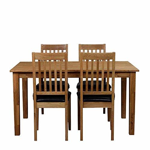 Pharao24 Essgruppe mit 4 Stühlen Eiche Massivholz