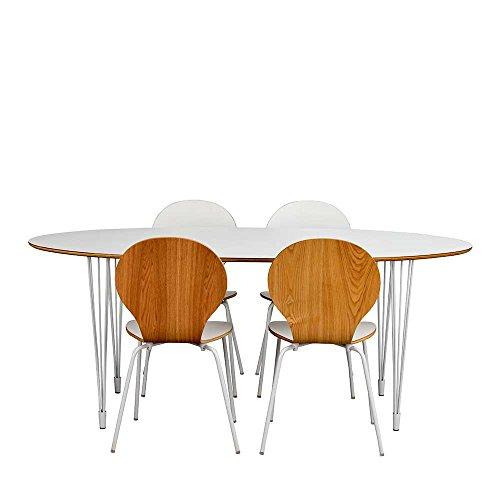 Pharao24 Küchen Sitzgruppe mit ovalem Tisch Weiß Eiche