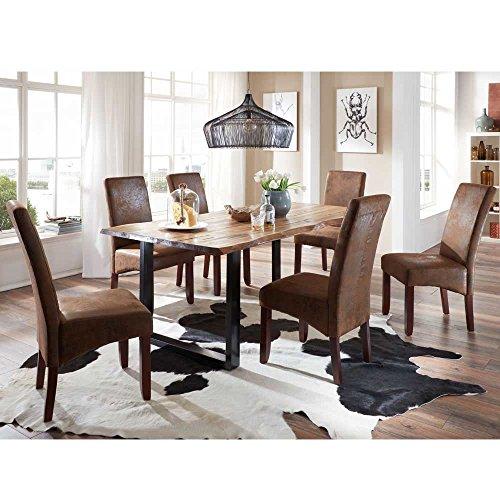 Pharao24 Esstisch mit Stühlen mit Baumkante Braun Stoff (7-teilig) Breite 180 cm Tiefe 90 cm