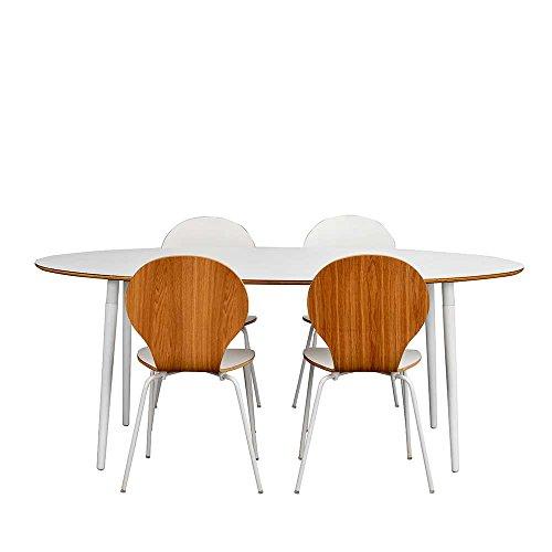 Pharao24 Essgruppe mit ovalem Tisch Weiß und Eiche