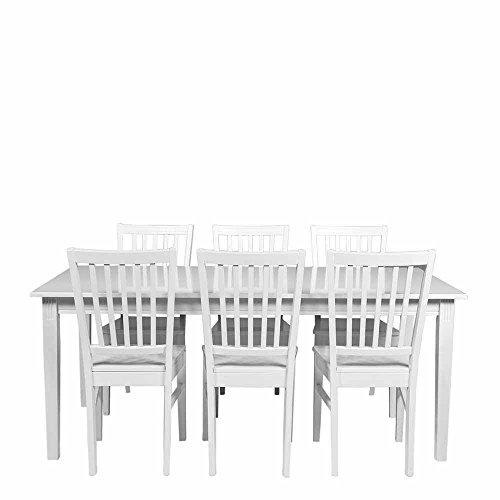 Pharao24 Esstisch mit Stühlen in Weiß im skandinavischen Landhausstil Ausführung 2