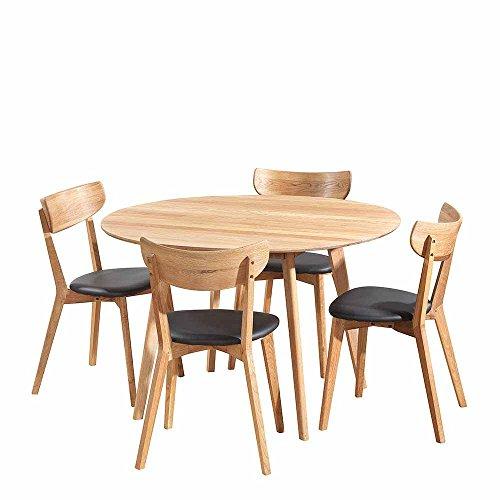 Pharao24 Esszimmergruppe mit Rundem Tisch Eiche Schwarz