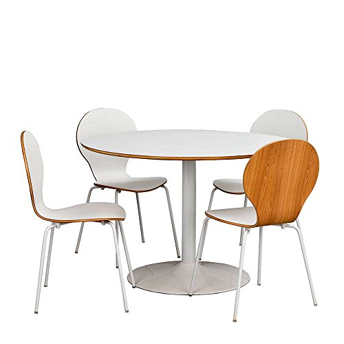Pharao24 Esstisch mit Stühlen in Weiß Tisch rund