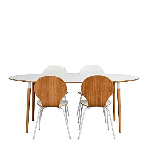 Pharao24 Esszimmergruppe mit ovalem Tisch Weiß und Eiche