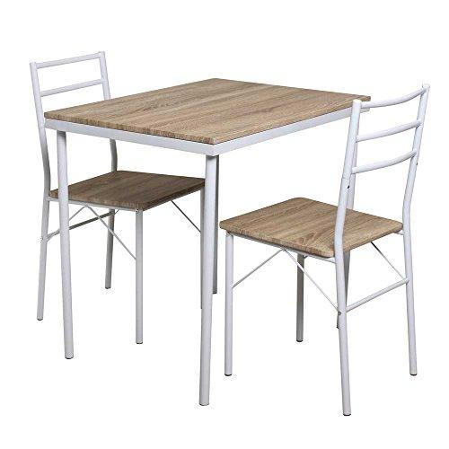 Pharao24 Küchen Sitzgruppe in Weiß Eiche Sonoma