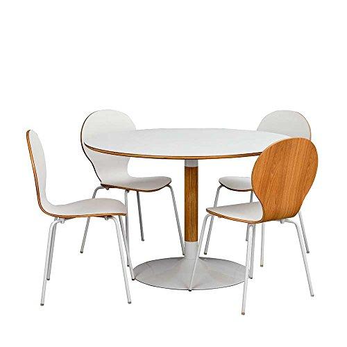 Pharao24 Essgruppe mit Rundem Tisch und 4 Stühlen Weiß und Eiche