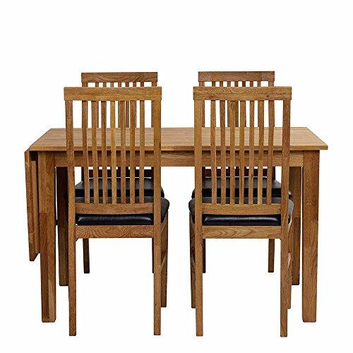 Pharao24 Esstisch mit Stühlen aus Eiche Massivholz Kunstleder Schwarz