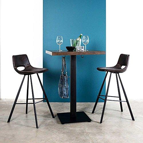 Pharao24 Tisch mit Zwei Barstühlen im Retro Look Braun Schwarz