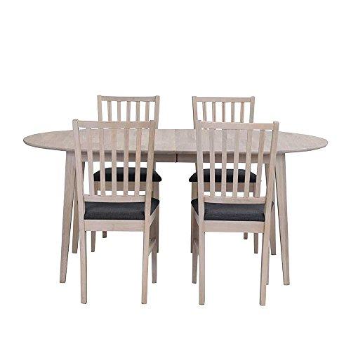 Pharao24 Esszimmergruppe mit ovalem Tisch Eiche White Wash