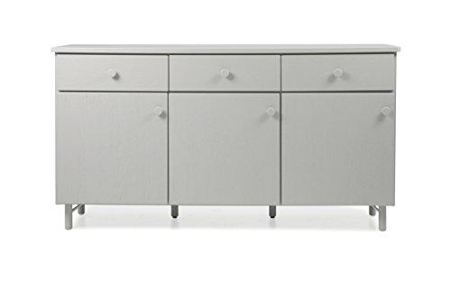 Tenzo 4006-912 Grain Designer Sideboard Holz, grau gebeizt, 46,5 x 180 x 96 cm