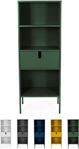 Tenzo 8562-031 UNO Designer Regal, 1 Schublade, Forest Grün lackiert, MDF + Spanplatten, matt Soft-Close Funktion, 152 x 56 x 37 cm (HxBxT)