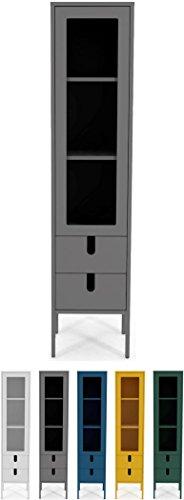 Tenzo 8566-014 UNO Designer Vitrine 1 Tür, 2 Schubladen, Grau lackiert, MDF + Spanplatten, matt Soft-Close Funktion, 178 x 40 x 40 cm (HxBxT)