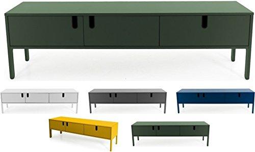 Tenzo 8571-031 UNO Designer Lowboard 2 Türen, 1 Schublade, Forest Grün lackiert, MDF + Spanplatten, matt Soft-Close Funktion, 50 x 171 x 46 cm (HxBxT)