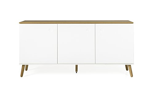 Tenzo ACE Sideboard 3 Türen, MDF und Spanplatte, Lackiert, Weiss/Natur, One Size
