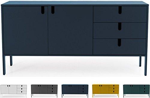 Tenzo UNO 8555-023 Designer Sideboard 2 Türen, 3 Schubladen Lackiert, MDF + Spanplatten, matt Soft-Close Funktion, Petrol Blau, 86 x 171 x 46 cm (HxBxT)