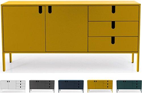 Tenzo UNO 8555-029 Designer Sideboard 2 Türen, 3 Schubladen Lackiert, MDF + Spanplatten, matt Soft-Close Funktion, Senf, 86 x 171 x 46 cm (HxBxT)