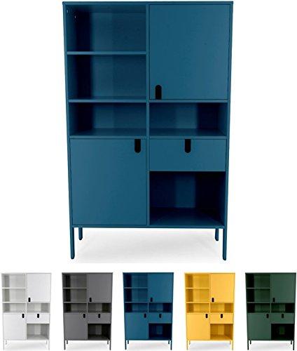 Tenzo UNO 8563-023 Designer Highboard 2 Türen, 1 Schublade Lackiert, MDF + Spanplatten, matt Soft-Close Funktion, Petrol Blau, 176 x 109 x 40 cm (HxBxT)