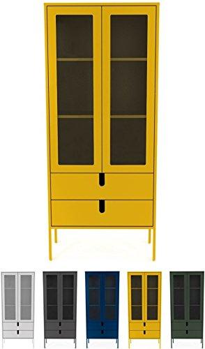 Tenzo UNO 8565-029 Designer Vitrine 2 Türen, 2 Schubladen Lackiert, MDF + Spanplatten, matt Soft-Close Funktion, Senf, 178 x 76 x 40 cm (HxBxT)