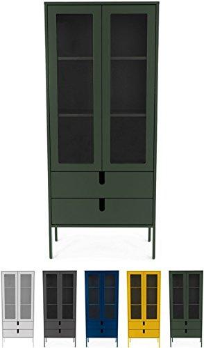 Tenzo UNO 8565-031 Designer Vitrine 2 Türen, 2 Schubladen Lackiert, MDF + Spanplatten, matt Soft-Close Funktion, Forest Grün, 178 x 76 x 40 cm (HxBxT)