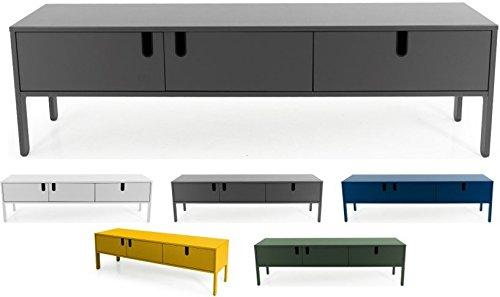 Tenzo UNO 8571-014 Designer Lowboard 2 Türen, 1 Schublade Lackiert, MDF + Spanplatten, matt Soft-Close Funktion, Grau, 50 x 171 x 46 cm (HxBxT)