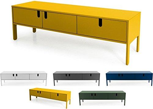 Tenzo UNO 8571-029 Designer Lowboard 2 Türen, 1 Schublade Lackiert, MDF + Spanplatten, matt Soft-Close Funktion, Senf, 50 x 171 x 46 cm (HxBxT)
