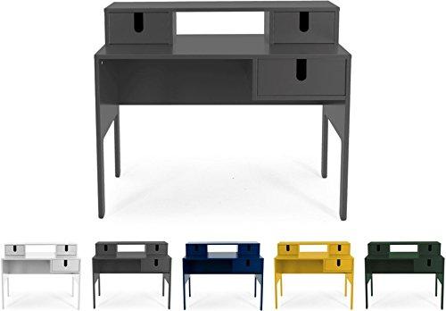 Tenzo UNO 8573-014 Designer Sekretär 3 Schubladen Lackiert, MDF + Spanplatten, matt Soft-Close Funktion, Grau, 92 x 105 x 50 cm (HxBxT)