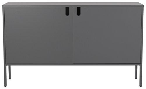tenzo 8554-014 UNO Designer Schrank 2 Türen-Breit, MDF/Spanplatte, grau, 148 x 40 x 89 cm