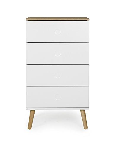 tenzo Dot Kommode, Holz, weiß/eiche, 55 x 43 x 98 cm