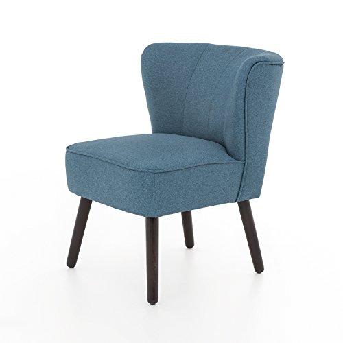 myHomery Venlo Lounge Sessel gepolstert - Polsterstuhl für Esszimmer & Wohnzimmer - Vintagesessel ohne Armlehnen - Eleganter Retro Stuhl aus Stoff - Blau