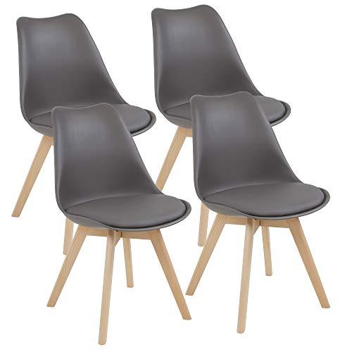 Albatros Esszimmerstühle AARHUS 4-er Set, Grau mit Beinen aus Massiv-Holz, Buche, skandinavisches Retro-Design