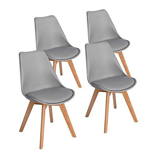 ArtDesign 4er Set Esszimmerstühle mit Massivholz Buche Bein, Retro Design Gepolsterter lStuhl Küchenstuhl Holz,Grau