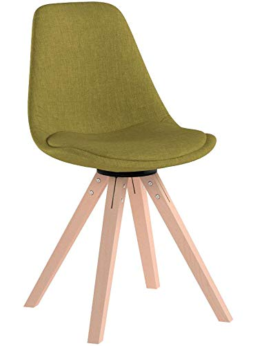 CLP Retro-Stuhl Toulouse Square Mit Stoffbezug Und Hochwertigem Sitzpolster I Lehnstuhl Mit Stabilem Holzgestell I Sitzhöhe 48 cm Grün, Natura
