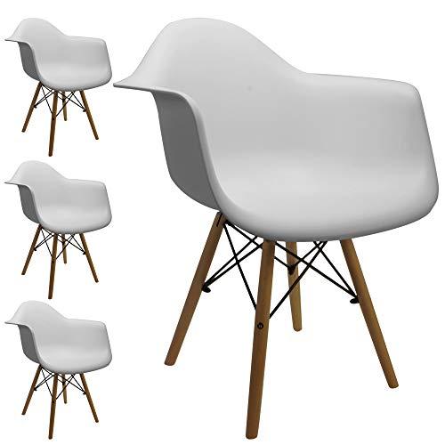 Cepewa Retro Klassiker Designer Stühle mit Armlehnen | 4er Set | weiße Sitzschale | Holzbeine Natur | sehr stabil | (4er Set mit Armlehne)