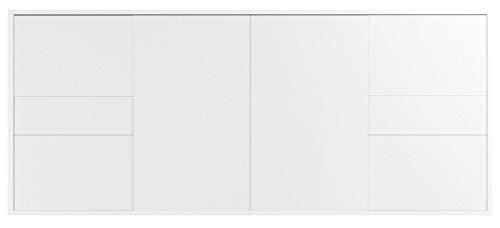 Dekati Sideboard Beaumont hängend (180x77x35cm) Korpus Weiss matt | Front Hochglanz Weiß | Push-to-Open | Leichtlaufschienen