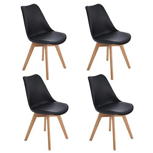 EGGREE 4er Set Esszimmerstühle Skandinavisch Küchenstuhl Stühle Modern mit Massivholz Eiche Bein und Kunstlederkissen, Schwarz
