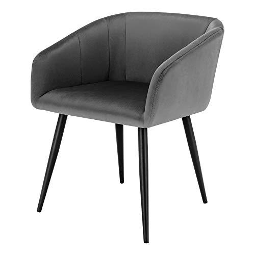 EUGAD 0296BY-1 1 Stück Esszimmerstühle Küchenstuhl Wohnzimmerstuhl Polsterstuhl mit Armlehne, Retro Design, Samt, Metall, Dunkelgrau