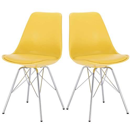Elightry 2er Set Esszimmerstühle mit verchromter Stahl Bein, Retro Design, Kunstleder Küchenstuhl, Wohnzimmerstuhl, Gelb